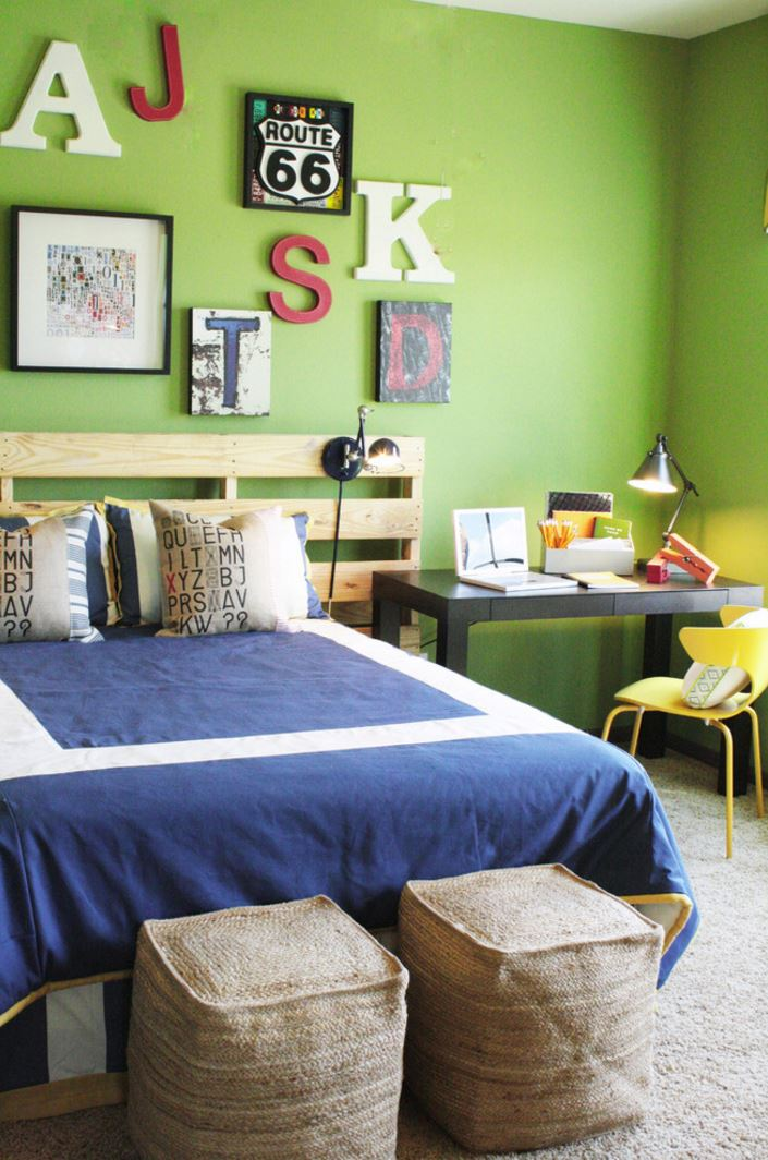 Modern bedroom with wooden letters