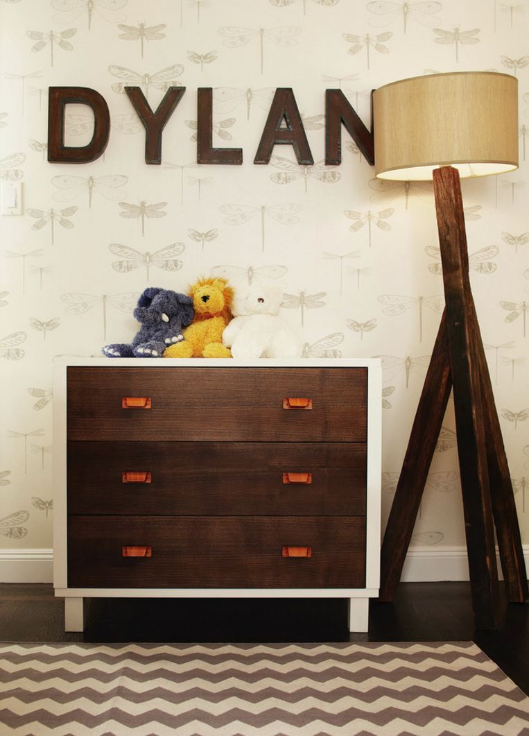 Modern nursery with metal-trimmed letters