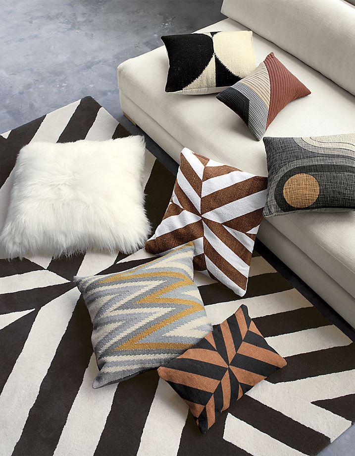 Modern pillows from CB2 x Kravitz Design