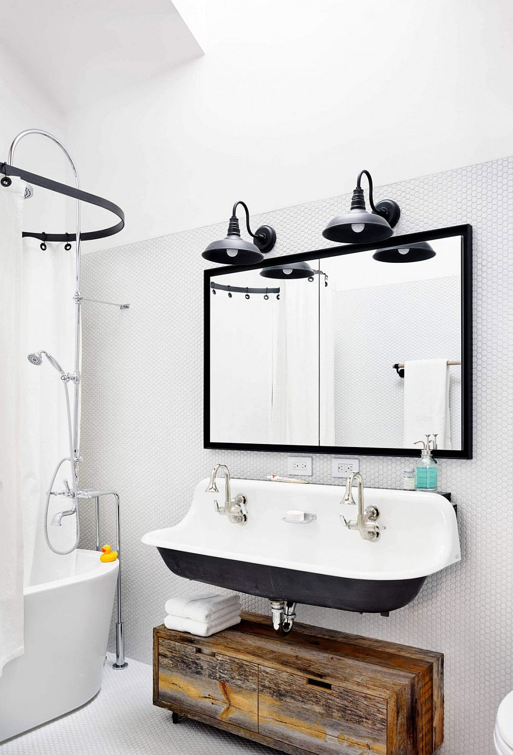 Penny tiles and vintage sink for the modern bathroom