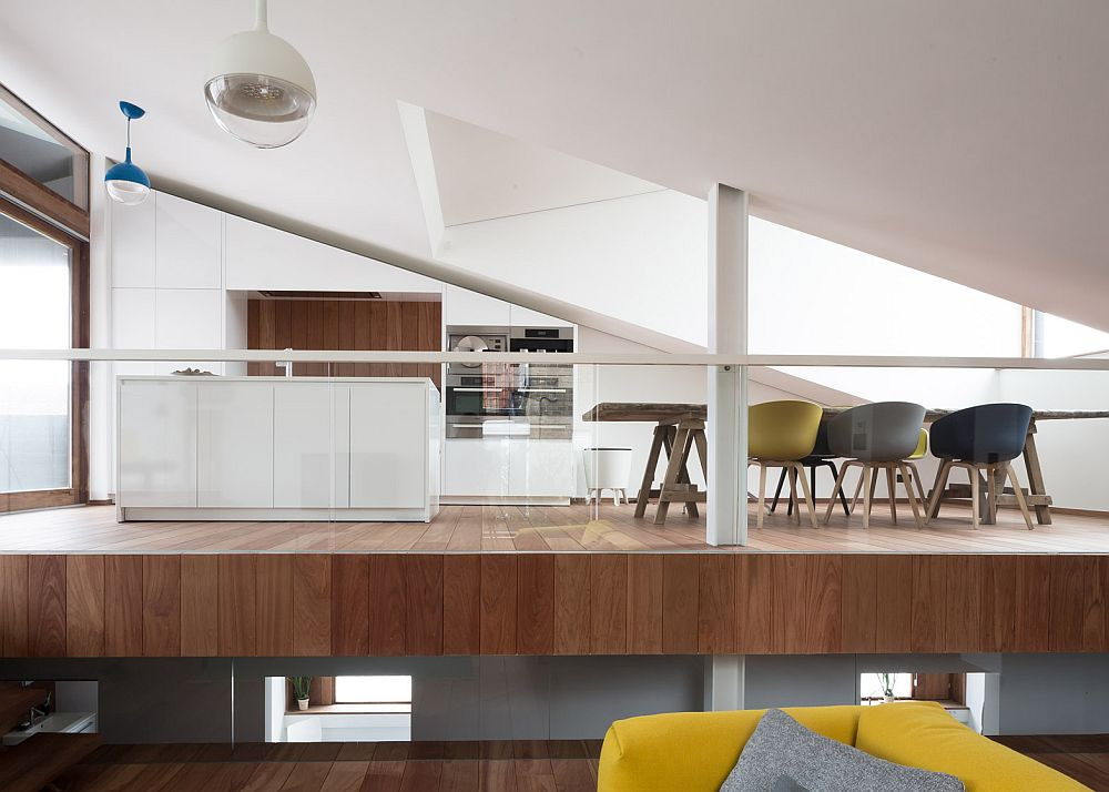 Split-level above the ground contains the open plan living area
