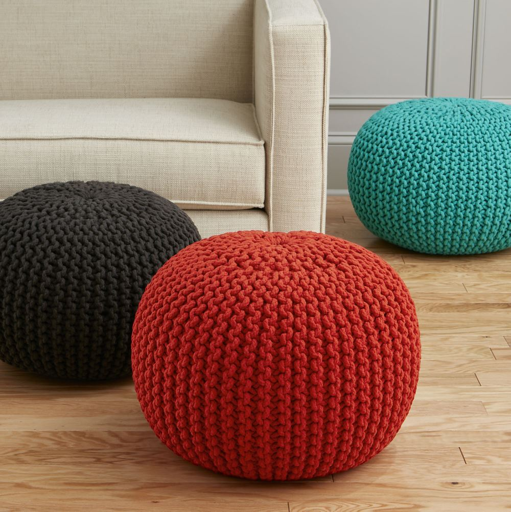 Colorful poufs from CB2