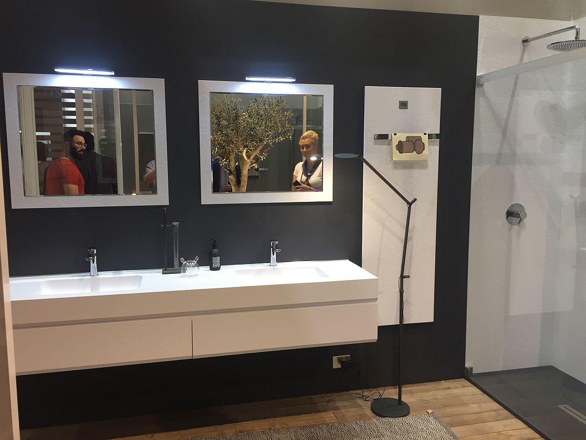 Contemporary bathroom vanity and mirrors