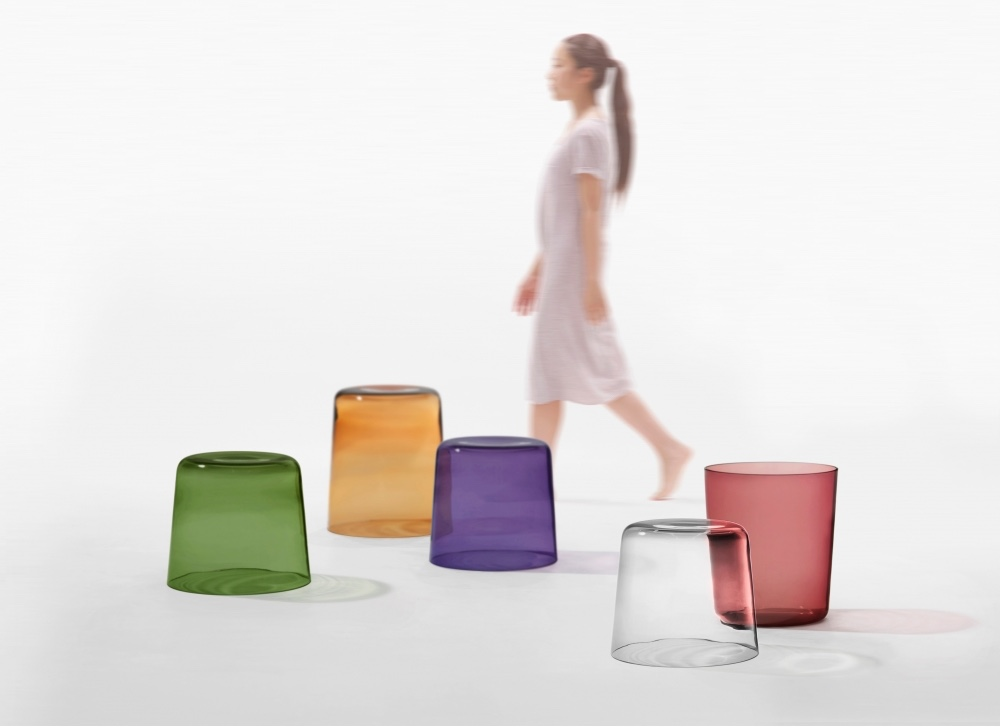 The Cup table, designed by Ichiro Iwasaki, is a vibrant mouth-blown glass table. Image © Iwasaki Design Studio.