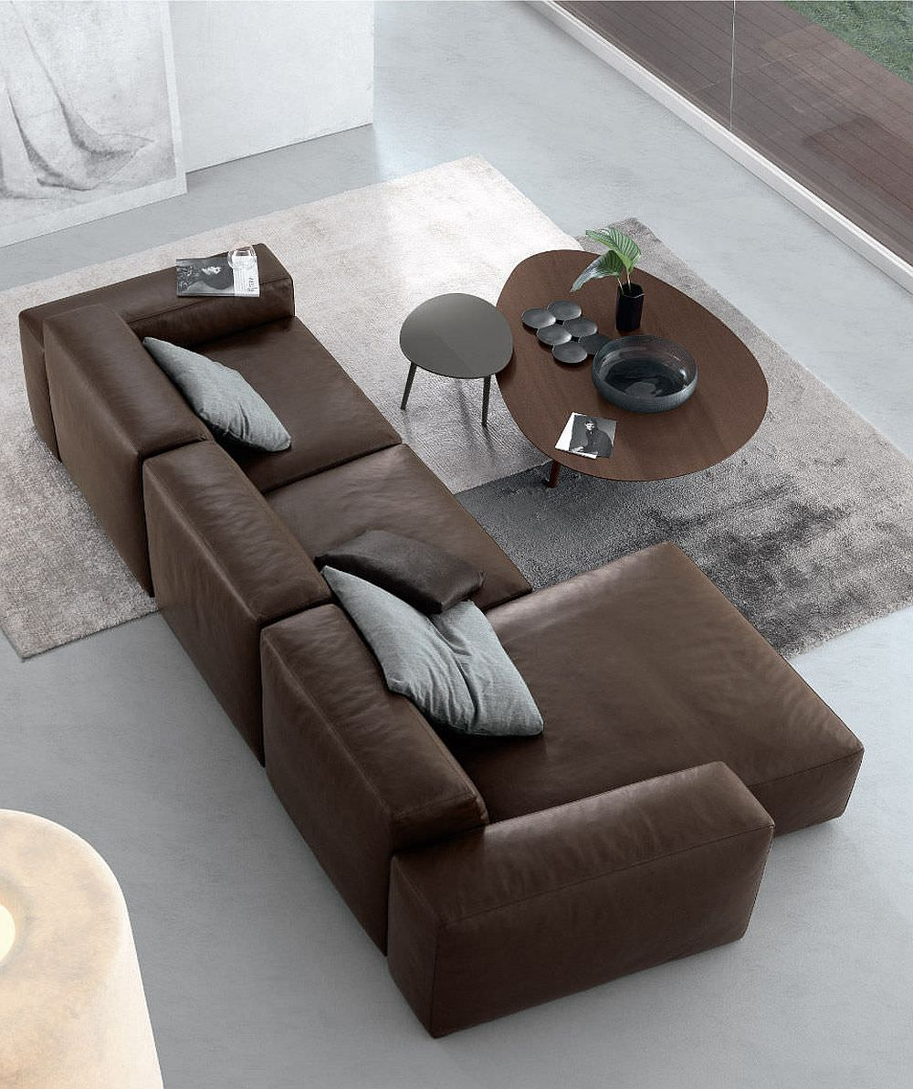 Dark sectional sofa with smart functionality