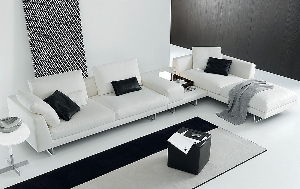 Exquisite modular sofa in pristine white for the contemporary living room