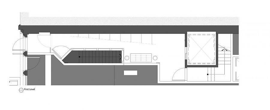 FIrst level floor plan of industrial modern NYC apartment