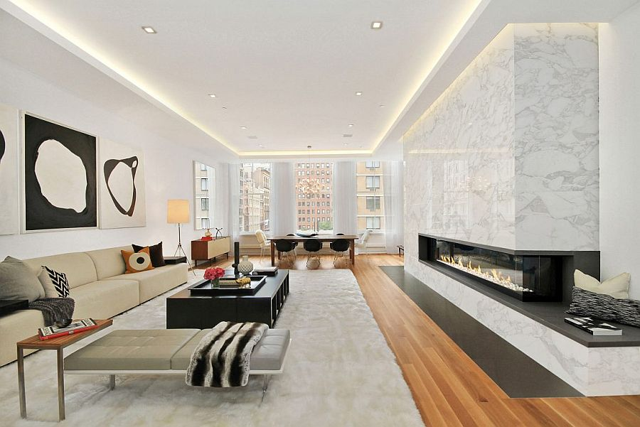 Italian Calacatta marble fireplace steals the show in the living room