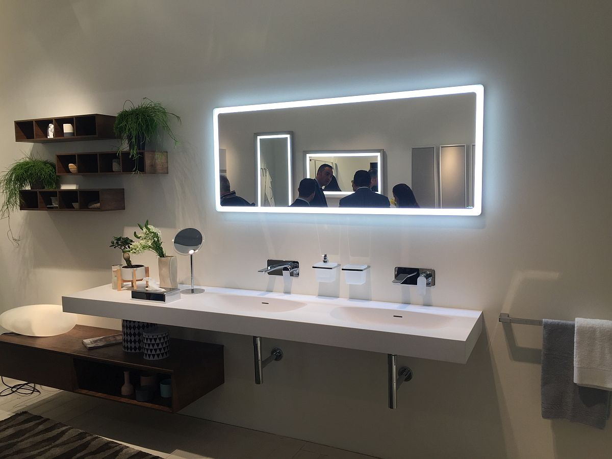 Led strip lighting around the mirror – Bathroom decor and lighting ideas from Inda