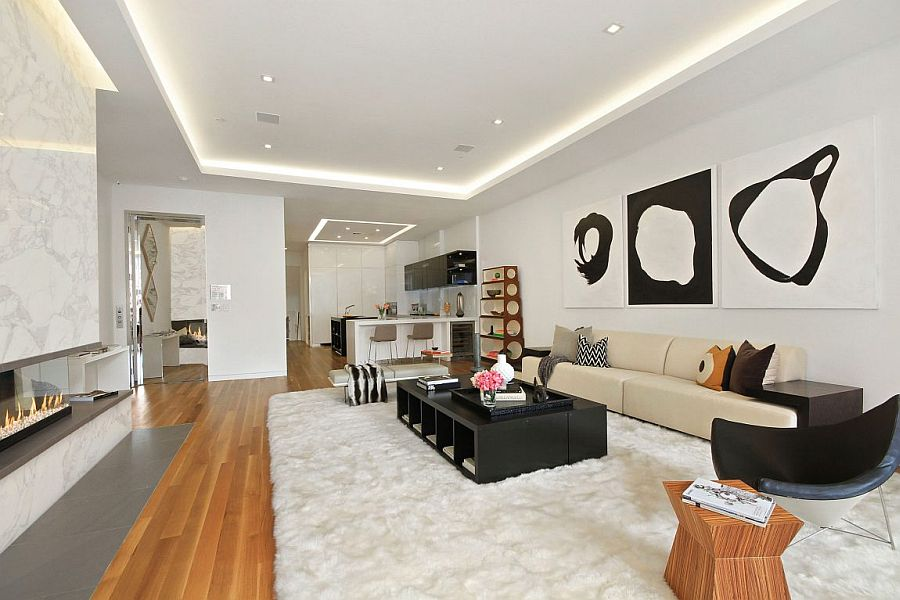 Luxurious NYC apartment living room in white with wooden accents
