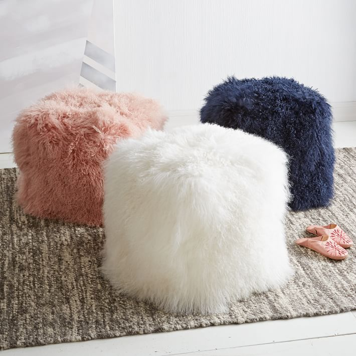 Mongolian lamb poufs from West Elm