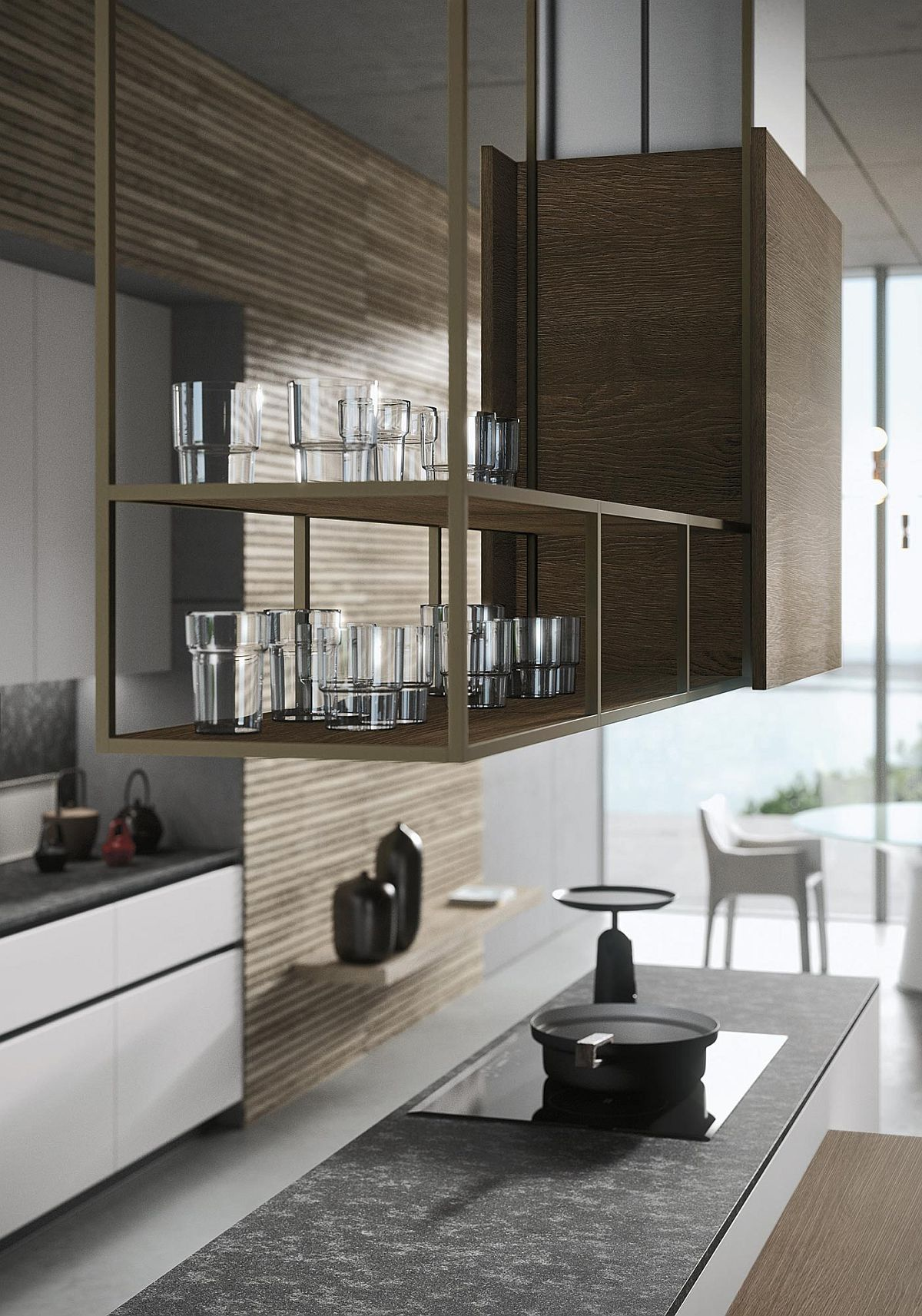 Open shelving gives the Look Kitchen an airy and contemporay appeal