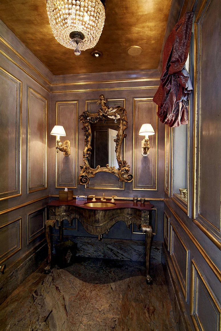 Ornate vanities are perfect for the charming Victorian powder room [Design: Kaufman Homes]