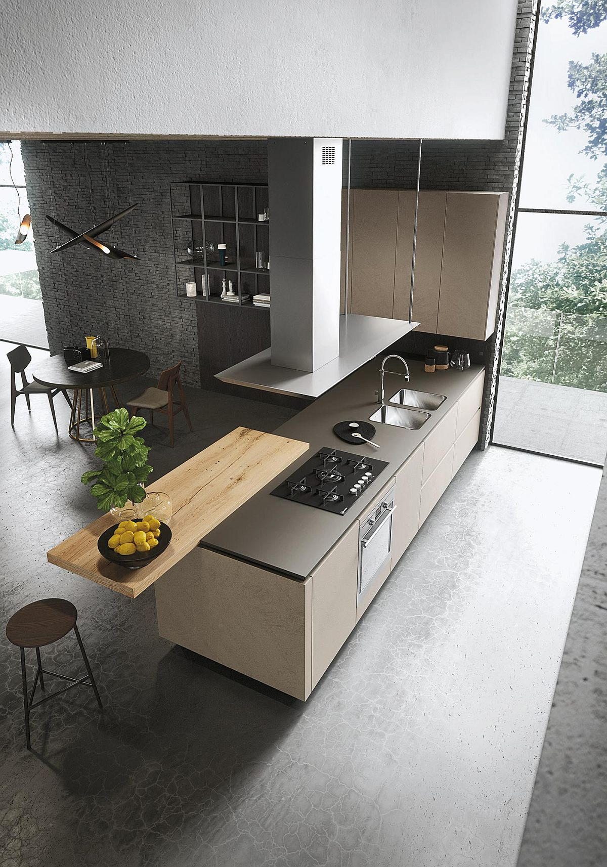 Standalone wooden attachment to the kitchen island can be used in a variety of ways