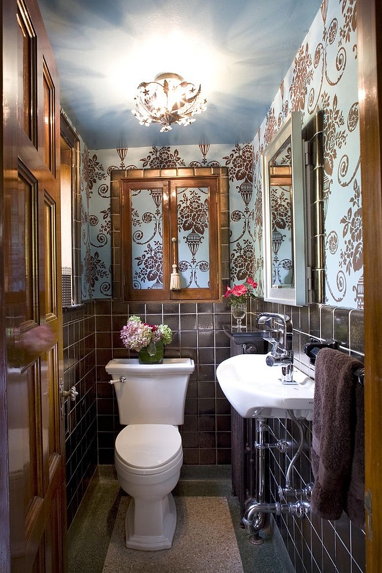 Tile, wallpaper and metallic dazzle come together in this tiny powder room [Design: Joni Spear Interior Design]