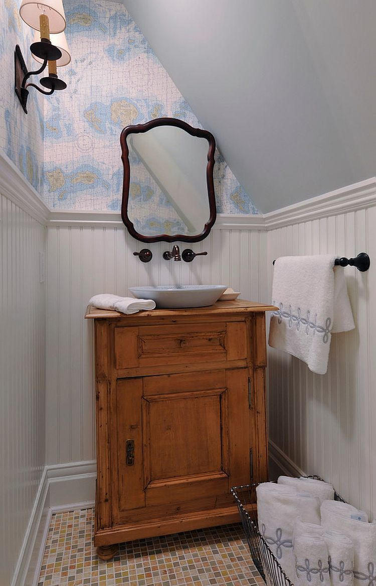 Tiny powder room of New York home with Modern Victorian style [Design: Ashbourne Designs]
