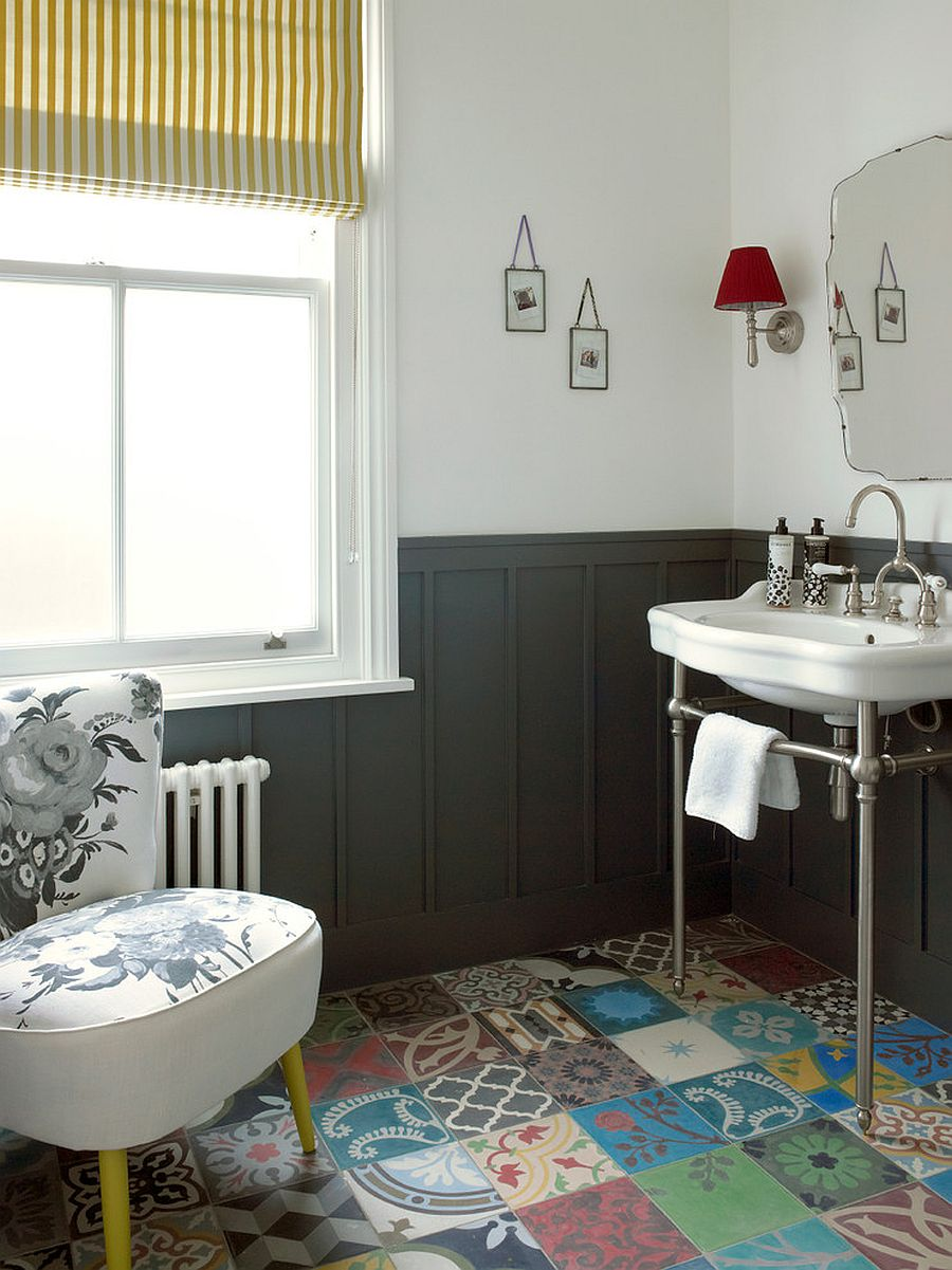 Vivacious patchwork tiled flooring adds color to this classy powder room in London home [From: LEIVARS]