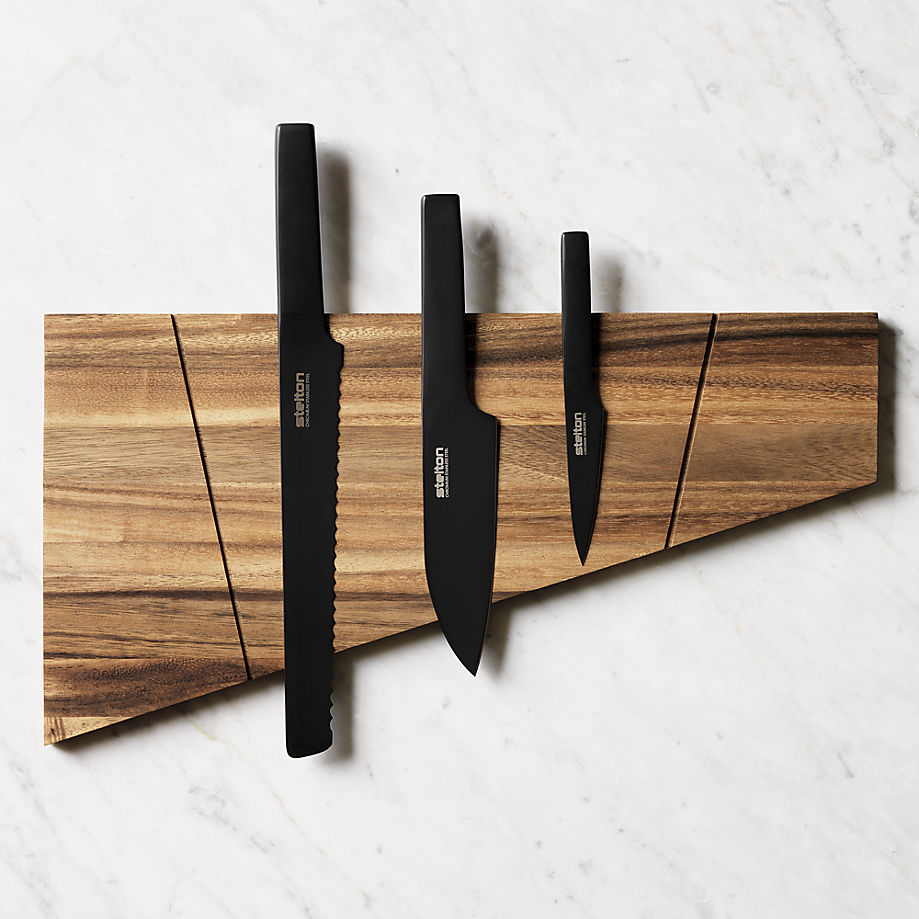 Acacia magnetic knife board from CB2