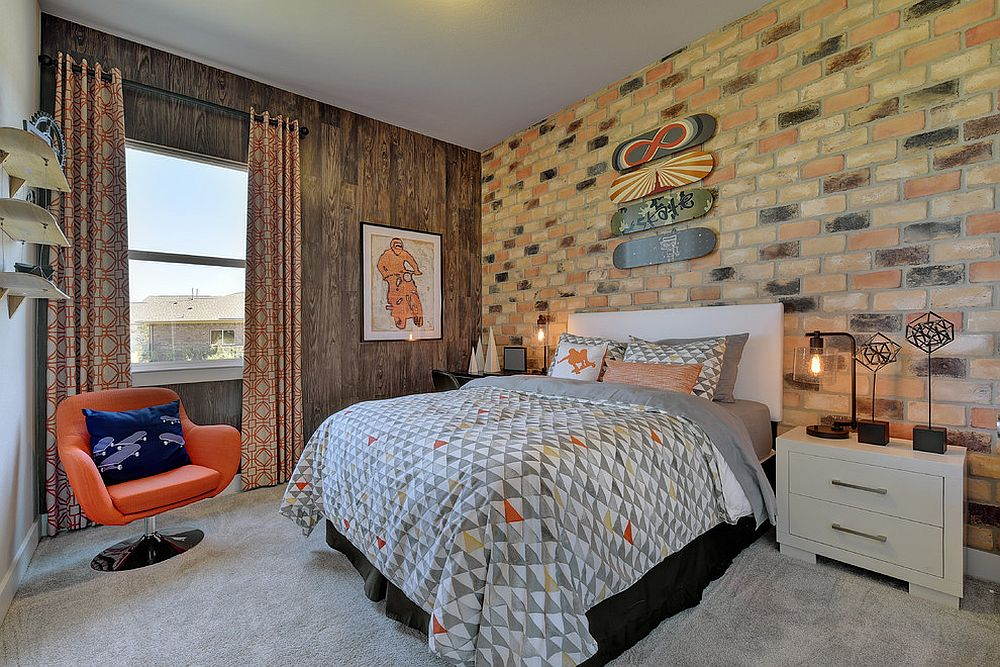 Chic midcentury kids' room with brick wall and a neutral color palette [Design: Twist Tours Photography]