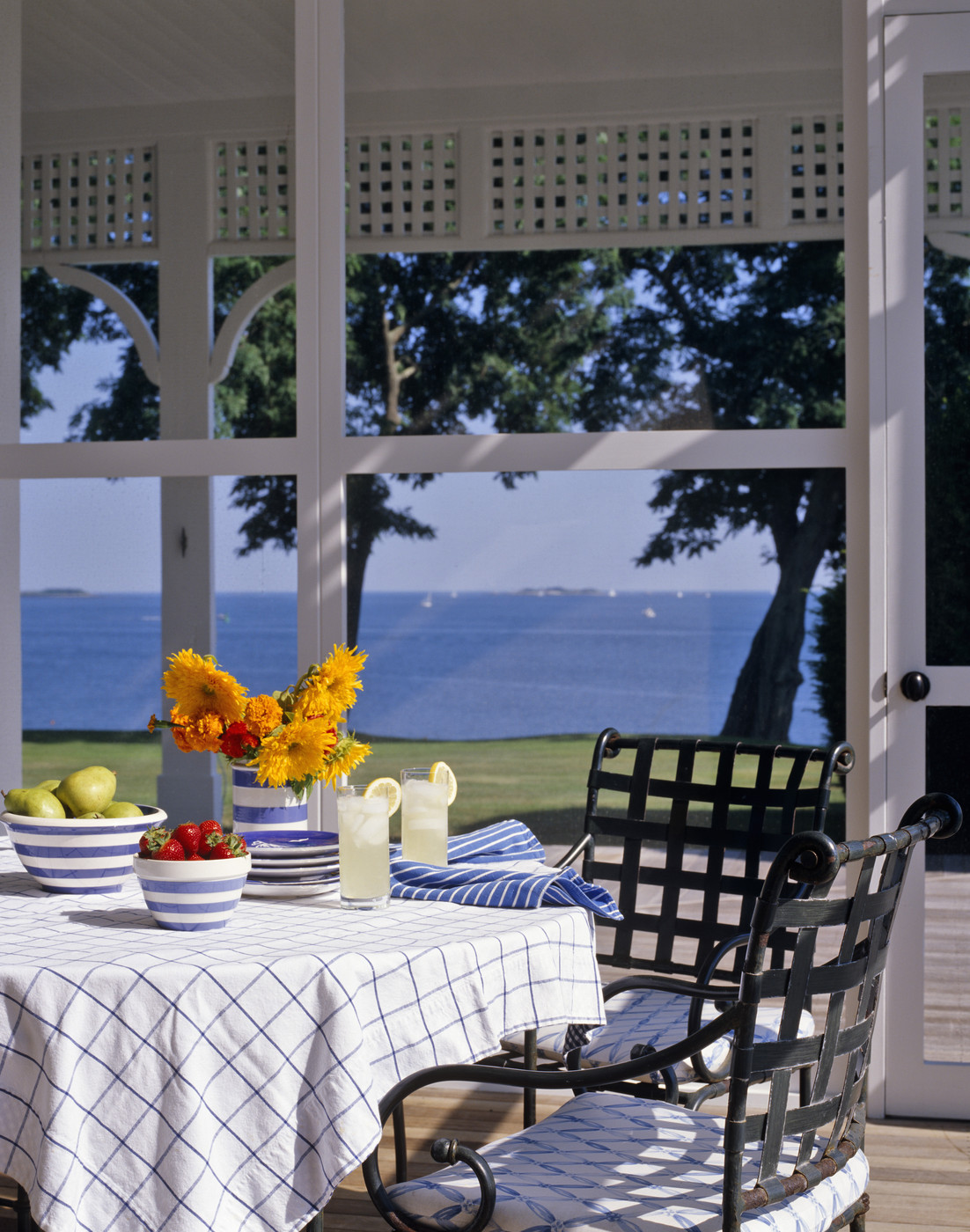 Classic grid tablecloth on a sunny porch