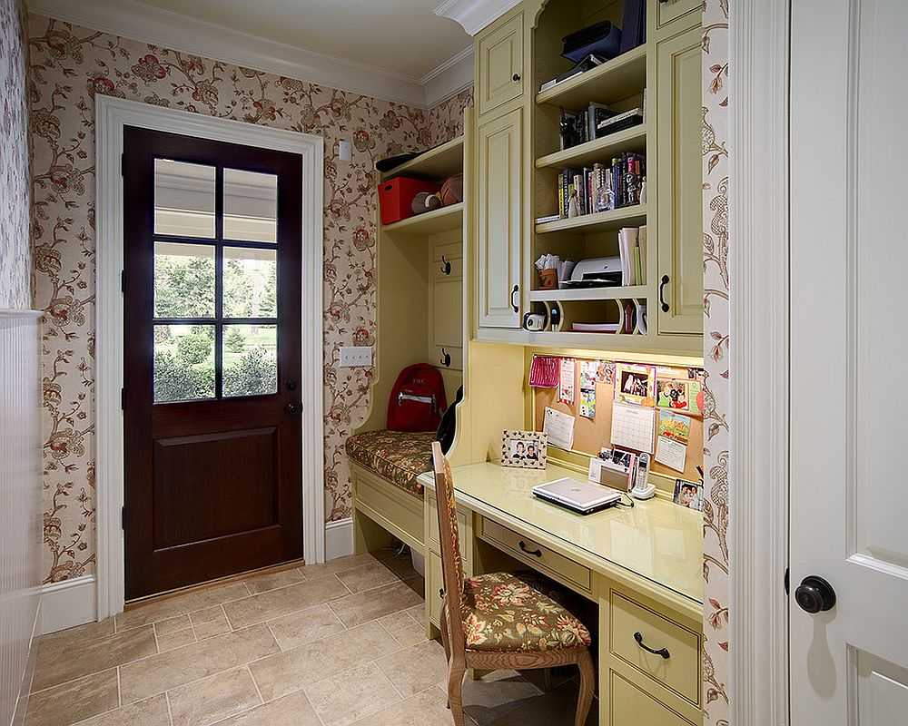 Even the tiniest entry can accomodate both the mudroom and home office