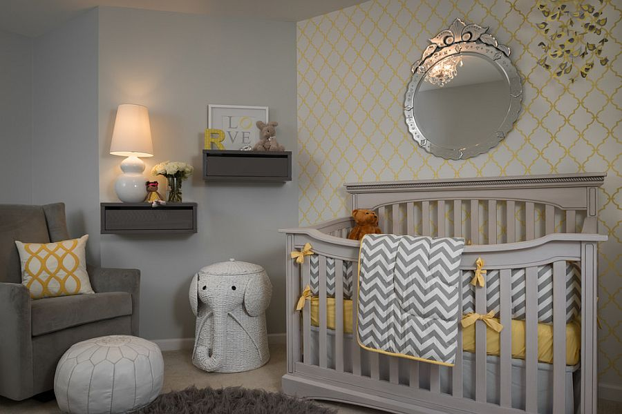 Fabulous wallpaper brings yellow to the gray nursery in style