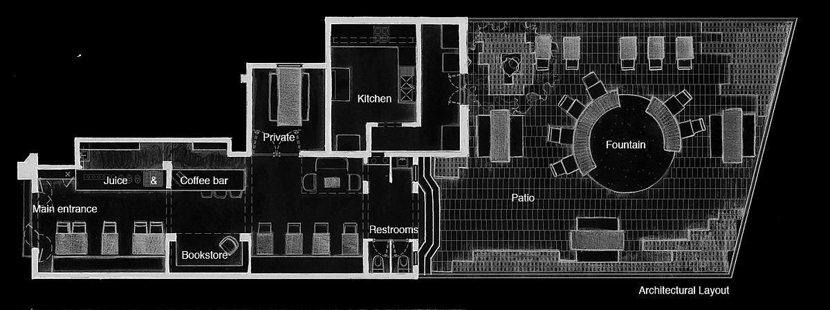 Layout of the 1920s home renovated into modern restaurant
