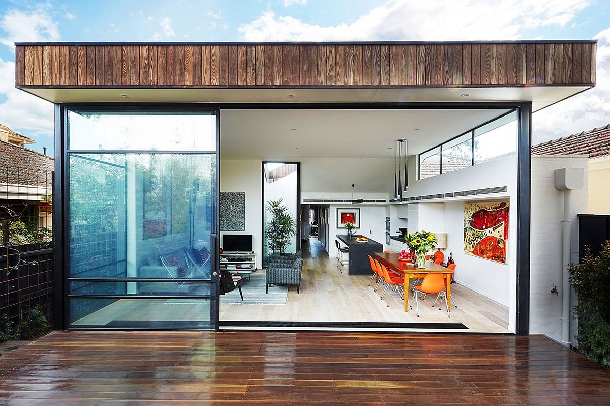 New, open living area kitchen and dining space of the revamped Melbourne House