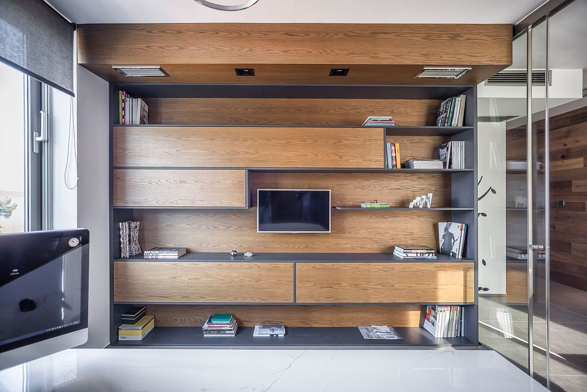 Office storage and shelf space with floating wooden cabinets