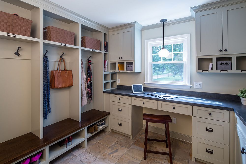 Open shelving in the mudroom gives it a more spacious look [Design: Sicora Design/Build]