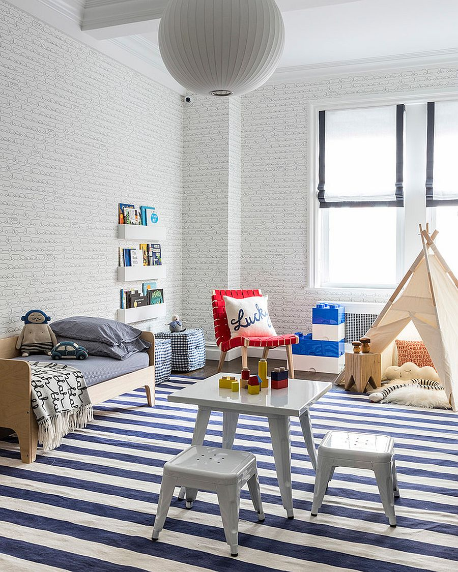 Refined contemporary kids' room in blue and white [Design: SISSY+MARLEY]