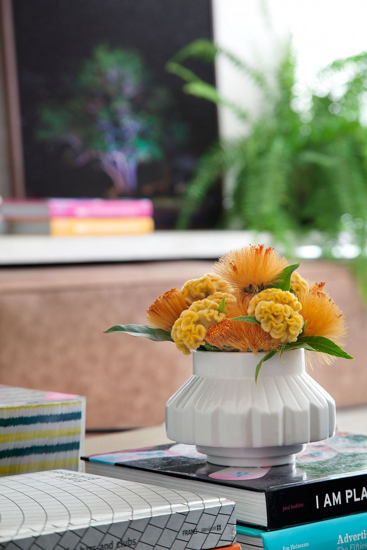 Colorful flowers add freshness and cheerful allure to the interior