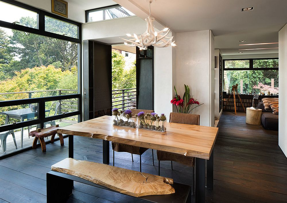 Dining table bench with natural wooden surface complements the dining table in a fun fashion [Design: Dawson & Clinton]