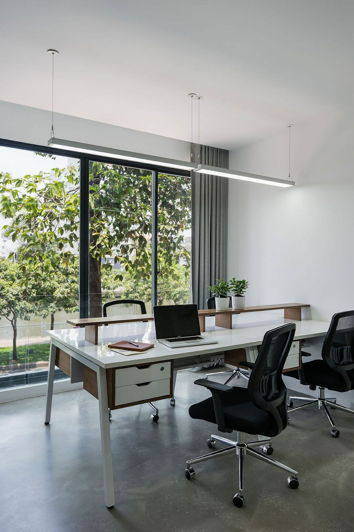 Ergonomic workstation with a view of the canal outside