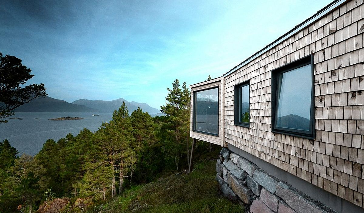 Exterior of the fabulous wooden cabin is built to withstand strong coastal winds