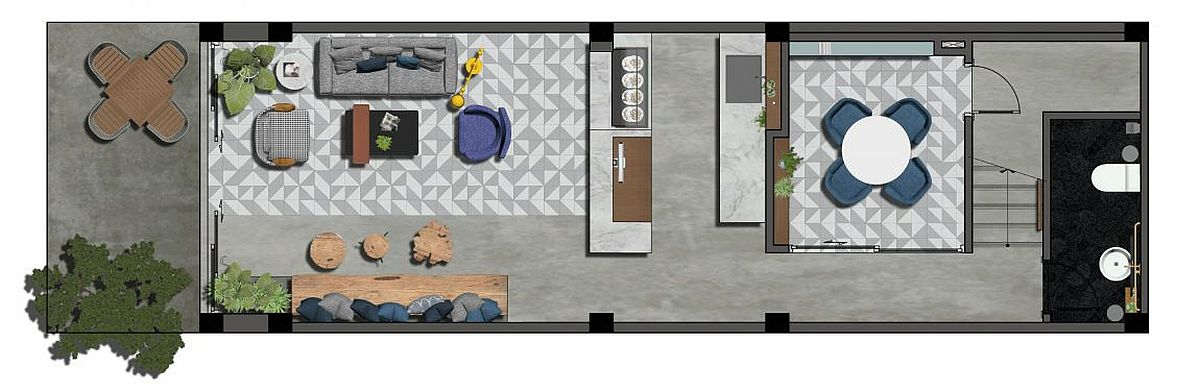 Floor plan of the first level of Pepper House with coffee shop and reception