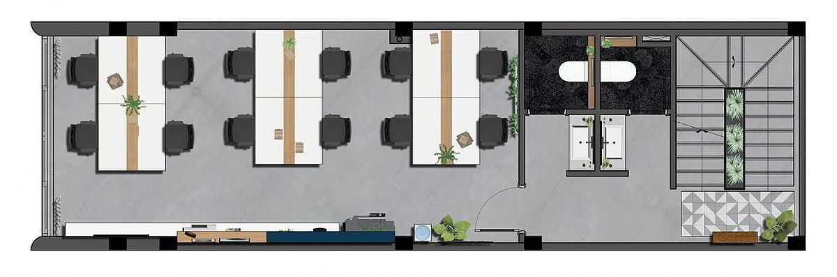 Floor plan of the second level with workspaces