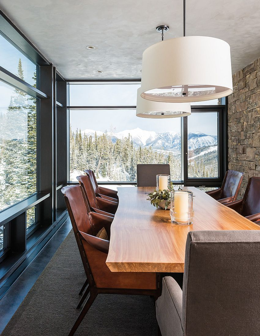 Glass and stone walls coupled with live edge dining table offer ample textural contrast [From: Pearson Design Group]