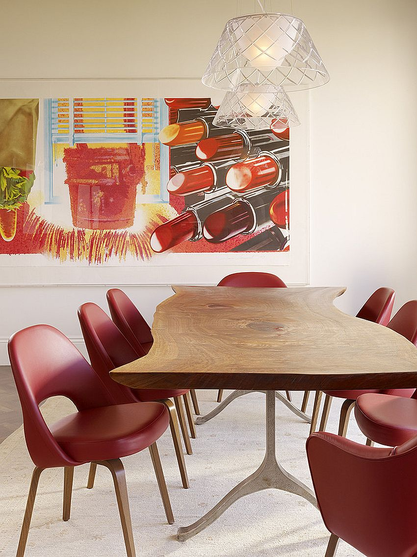 Gorgeous use of color in the modern dining room with midcentury appeal [Design: Chloe Warner / Photography: Matthew Millman]