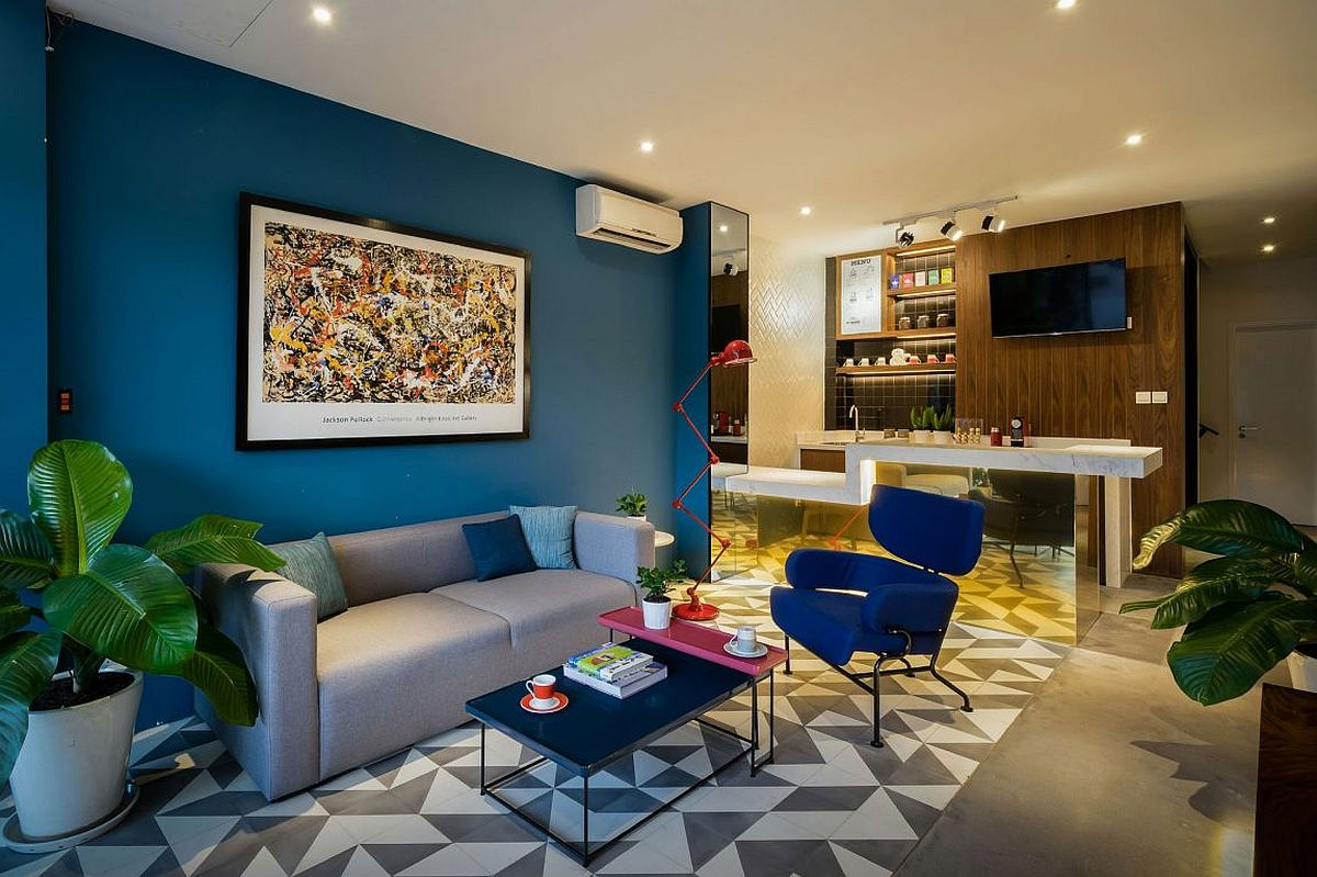 Ground floor coffee area and recepton zone on the lowst level of Ho Chi Minh City home