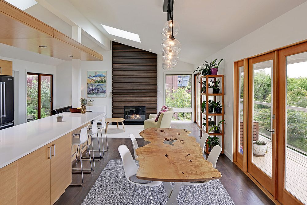 Kitchen and dining room combine to create a cozy family zone [Design: Mighty House Construction]