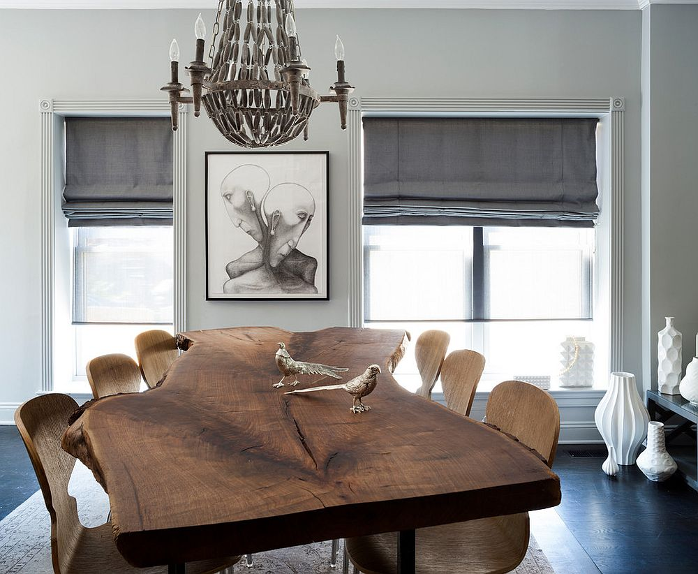Let the smart live edge dining table anchor your cheerful dining room [Design: Breeze Giannasio Interiors]