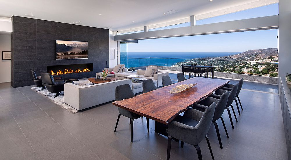 Live edge table gives the dining space a unique identity in the open plan living [Design: McClean Design]