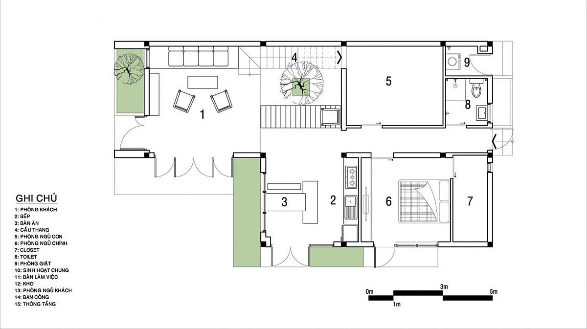 Lower level living area floor plan with kitchen, dining and bedrooms