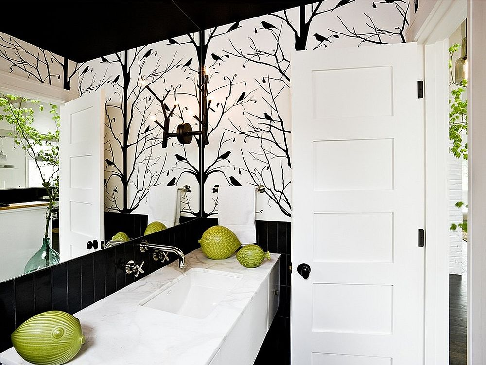 Midcentury style powder room with black and white color scheme
