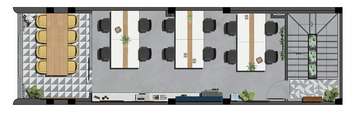 Office spaces and conference zone on the third level - Floor plan