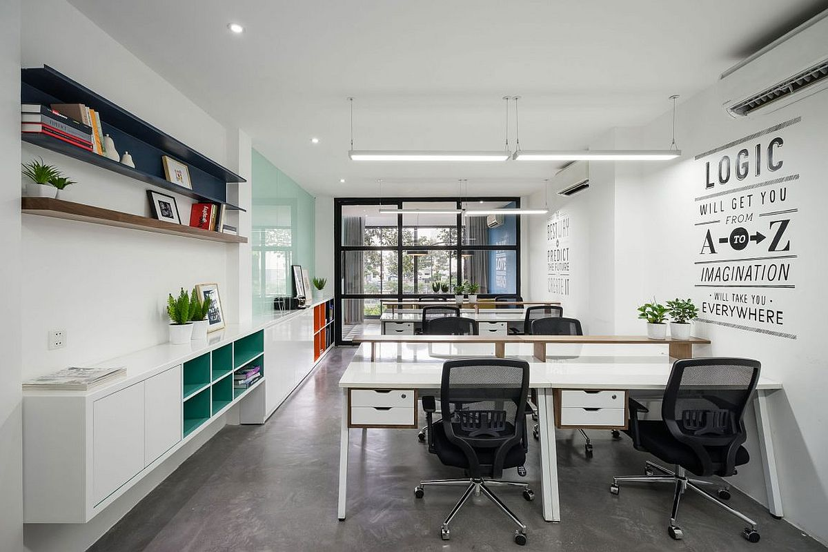 Second and third level workspaces with white backdrop and relaxing ambiance