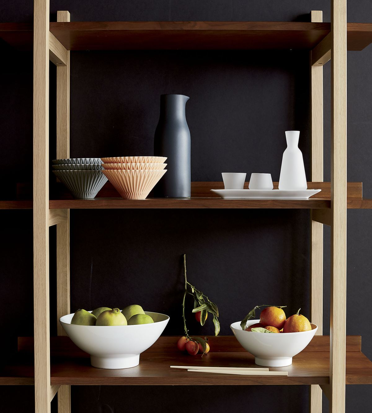 Wooden shelving in a grey room
