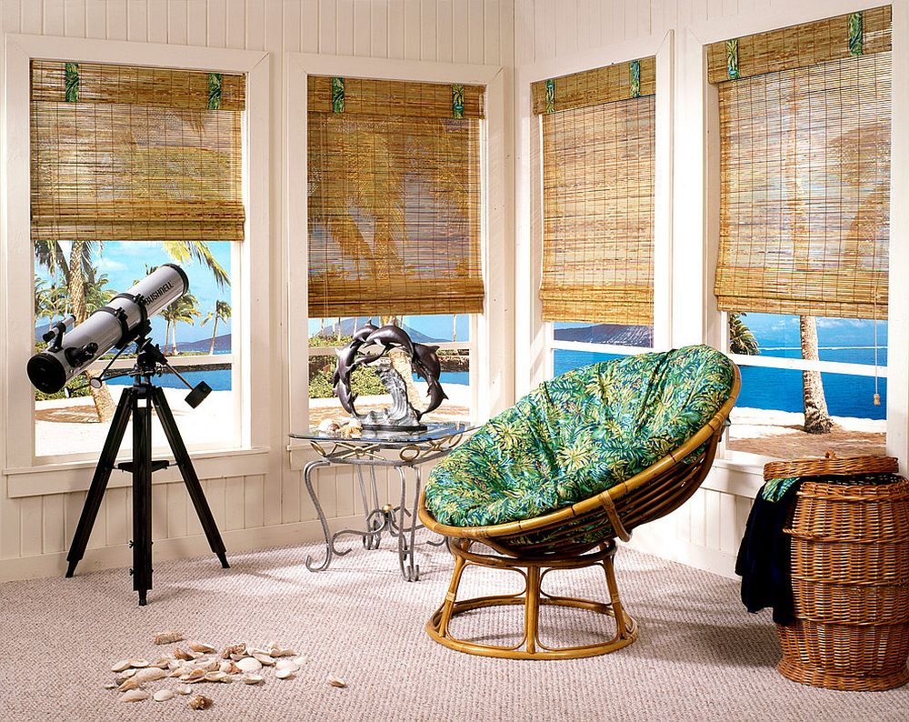 Bamboo furniture and woven wooden shades allow you to create your own personal tropical escape