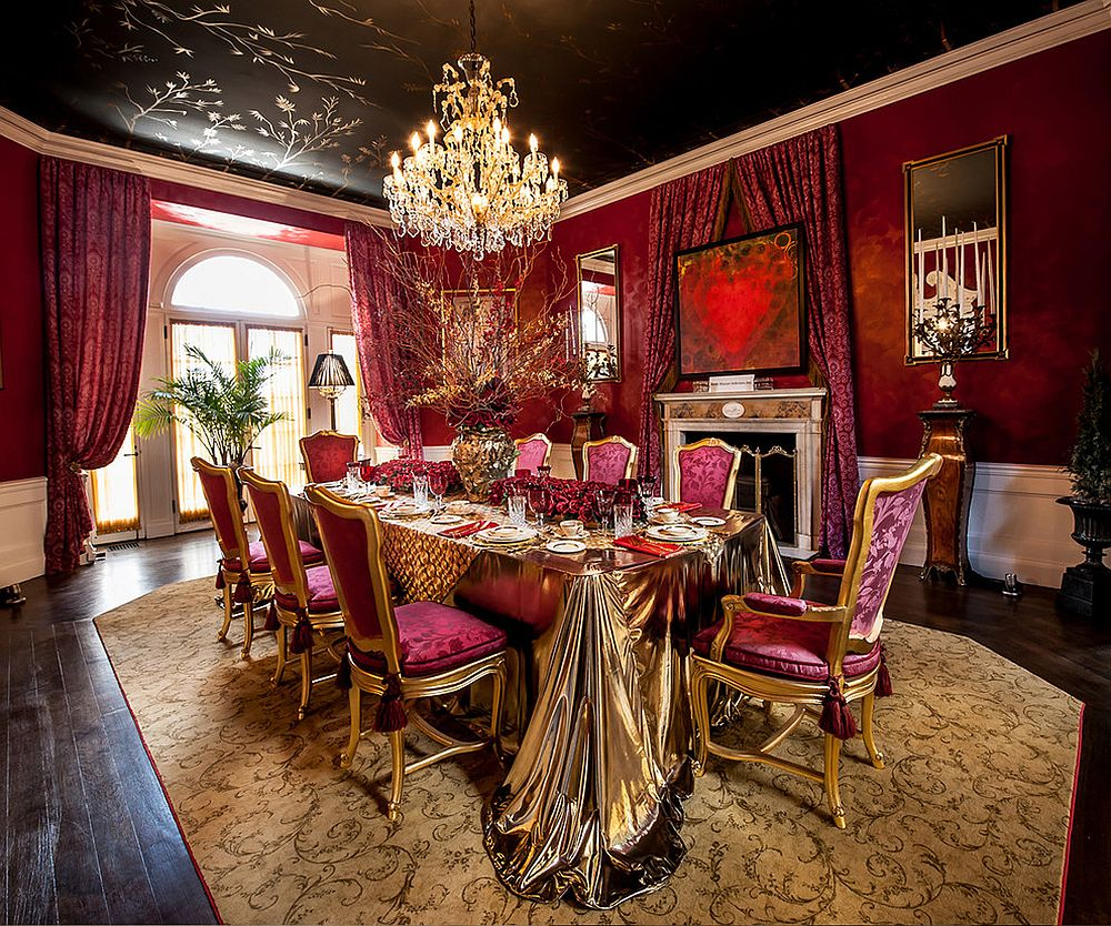 Bright fuchsia on the wall coupled with black on the ceiling in a sensational fashion
